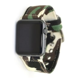 $enCountryForm.capitalKeyWord UK - Camouflage Fabric Canvas Band Wrist Watch Straps with Connector for Apple Watch iWatch Series 1 2 3 4 38mm 42mm