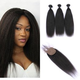 unprocessed virgin kinky straight hair 2019 - Peruvian Virgin Hair Bundles With Silk Base Closure 4pcs Lot Unprocessed Kinky Straight Human Hair Weaves With Closure d
