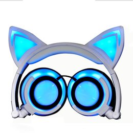 white cosplay ears UK - Cat Ear Kids Headphones Flashing Glowing Cosplay Fancy Foldable Over-Ear Gaming Headsets Earphone with LED for Girls Boys Phone Tablet