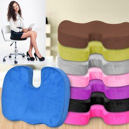 Padded Office Chairs NZ - Memory cotton cushion Office Chair pad Car Seat Pillow Cushion Back Pain Sciatica Relief Pillow Sofa Cushion travel Sponge Cushions WX9-26