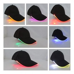 Free magic ball online shopping - LED Light Optical Fiber Casquette Hat Fashion Magic Paste Design Baseball Caps Safety Flashing Ball Hats New Arrival qs B