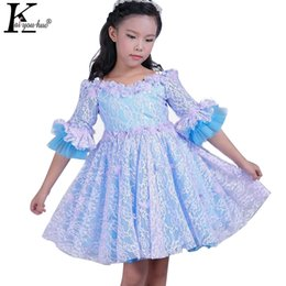 KEAIYOUHUO 2017 Girls Clothes Princess Summer Girls Dress Half Sleeve Patry Flower Kids Dresses For Girls Children Lace Vestidos