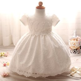 White Clothes For Baptism Australia - 1 Year Birthday Baby Girl Dresses For Baptism Infant Snow White Princess Lace Christening Gown Newborn Bebes Clothes For Girls
