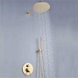Contemporary Metal Wall Australia - Hot Sale In Wall Mounted Shower Bath Rain Shower 10 Inch 250mm Bathroom Showerhead Matt Gold Surface SUS304 Hot Cold Shower Mixer Set