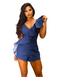 Women blue jean jumpsuit online shopping - 2019 Summer Short Jumpsuit Fashion Casual Jeans Coverall Women Jumpsuit Denim Overalls V Neck Ruffled Rompers Girls Shorts