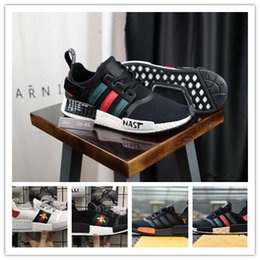 Wholesale 2018 NMD shoes Mens designer luxury shoes Casual Shoes white women sneakers good embroidery bee cock tiger dog fruit on the side