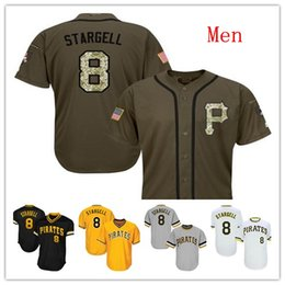 Pirates logos online shopping - Mens Pirates Willie Stargell Baseball Jersey Black White Gray Grey Gold Green Salute Players Weekend All Star Team Logo Memorial Day