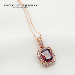 Artificial Chains Wholesalers Australia - Woman Artificial Red Ruby Luxury Pendant Necklace Rose Gold Color Perfect Cut Rectangle Crystal Lady Pendant Necklace Wholesale