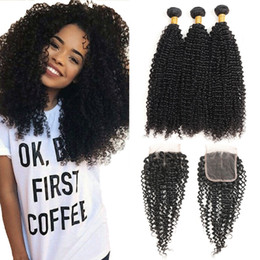 peruvian curly hair closure 2019 - Peruvian Curly Virgin Hair Weave 3 Bundles with 4X4 Lace Closure Peruvian Kinky Curly Hair Weave Bundles Natural Color F