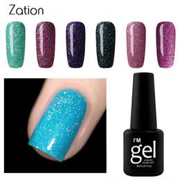 Wholesale Glitter Products Australia - Zation Hot Product 1pc Colors Neon Soak Off Gel Polish Nails Art Semipermanente Gel Color Top Coat Glitter UV Nail Polish