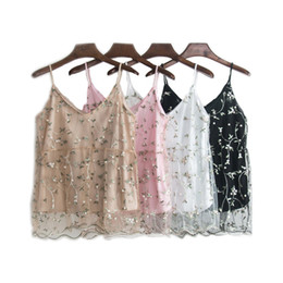 $enCountryForm.capitalKeyWord UK - Litfun Summer Women Floral Embroidery Tank Tops Sexy Mesh Pearl Bead Lace Pacthwork Vest Camis Female Pink Black White Short Top