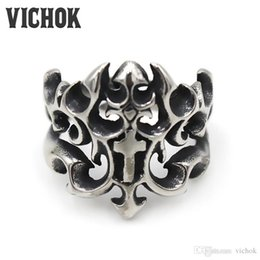 $enCountryForm.capitalKeyWord NZ - 316L Stainless Steel Ring Cross Flame Hollow Titanium Steel Rings New Style High Quality Casting Rings for Men VICHOK