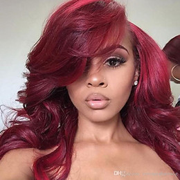 Discount beautiful long hair women - Beautiful Side Parting Burgundy Color Long Body Wave Wigs with Baby Hair Heat Resistant Gluelese Synthetic Lace Front Wi