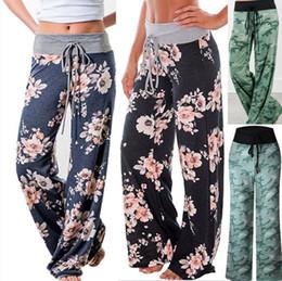 $enCountryForm.capitalKeyWord Australia - Plus Size Womens Floral Yoga Palazzo Trousers Ladies Loose Wide Leg Pants 8-16