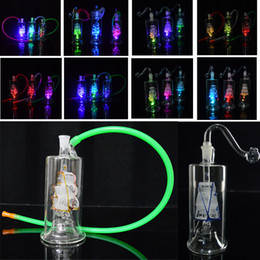 """Lighted Bong NZ - Colorful Bongs LED Light Oil Rigs Glass Water Bongs 10mm Joint Sailboat Model Dab Rig 5 inch Mini Bubbler Percolator with Banger 20"""" Hose"""