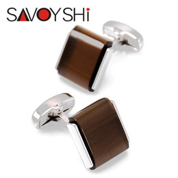 Wholesale SAVOYSHI Classic Low key Luxury Opal Cufflinks for Mens High Quality Brand Square Brown Cat s Eye Stone Cufflinks Silver Jewelry