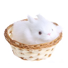 furry toys 2019 - Children Love Interesting Preety Cute Hare Rabbits In Basket Furry Plush Toys Craft Collectible Gift For Children Kids c