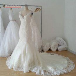 2015 Real Photos Amanda Novias Cap Sleeve Lace Appliqued See Through Back Mermaid  Wedding Dress 1204dac526c7