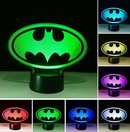remote dimmers Australia - Luminaria 3D Marvel Batman Symbol Color Dimming Switch Or Touch Or Remote illusion Gradient Bedroom Bedside Desk Table Decor Child Toy Gifts