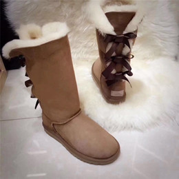 Cowhide snow boots online shopping - Cuwhf High Boots Three Bows Genuine Cowhide Leather Snow Boots High With Bows Winter Warm