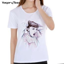 $enCountryForm.capitalKeyWord Australia - Women's Retro design t shirts Audrey Hepburn movie star goddess T Shirt novelty casual girl Tops Cool hipster Tees