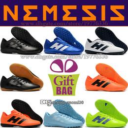 Indoor Football Turf Canada - High Quality Cheap Nemeziz Tangeo 18.4 IN TF Soccer Shoes Futsal Mens Indoor Soccer Cleats Turf Low Football Boots Shoes Size 6.5-11.5