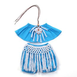 $enCountryForm.capitalKeyWord UK - 2018 Hot Sale Summer Fashion Cute Baby Girl Clothes Cotton lucky child Casual Comfortable Blue Sling Fringe Set NEW