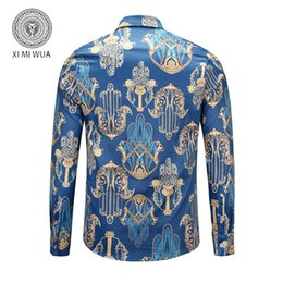 6d4c1d6c 2018 New Fashion 3d Shirts Blue Color with Golden Floral Print Men's Dress  Shirts Cotton Casual Hawaiian Shirt Camisa Masculina