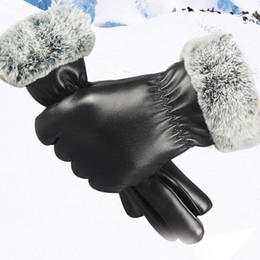 a5b21ebca735 Fashion Winter PU Leather Gloves Women Lady Thicken Warm Outdoor Driving  Soft Lining Gloves Handschoenen Mittens Hiver