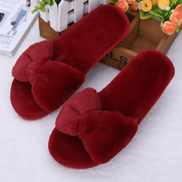 ee2b007c444 6 colors Winter Women Slippers Cartoon bowknot Slippers Indoor Home Shoes  Warm Adult Shoes Plush Pantufas with Bowtie Loafers
