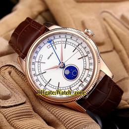 Опт Новый 39-миллиметровый Cellini Moon Phase m50535-0002 Автоматические мужские часы Белый циферблат из розового золота Чехол коричневый кожаный ремешок из сапфирового стекла Часы