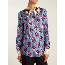 Discount rhinestone collar blouse - Brand Designer Luxury Rhinestone Women Blouse 2018 Autumn Fashion Turn Down Collar Beaded Prints Office Work Shirts Part