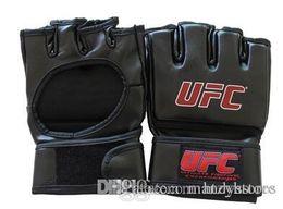 Leather Gloves Taekwondo NZ - Extension wrist leather mma fighting Kick boxing gloves training taekwondo gloves (black grey)