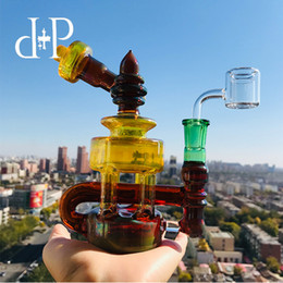 """$enCountryForm.capitalKeyWord Australia - Plus Glass Bong Water Pipe 026A Mini Tiffany Unique Amber Fumed color heady art pipe with percolator 7.2"""" Height 14mm Female"""