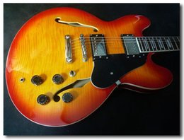 Electric Guitar 335 NZ - Free shipping famous brand JAZZ electric guitar,chinese guitar chery burst color 335