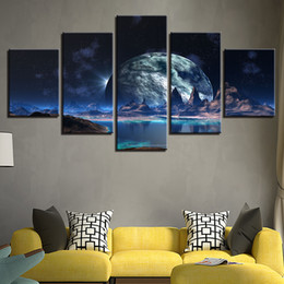 $enCountryForm.capitalKeyWord Australia - Wall Art 5 Pieces Lunar Starry Sky Mountain Lake Paintings HD Prints Moon Abstract Pictures Framework Canvas Posters Home Decor