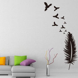 Discount bird window stickers - Feather Pattern Creative Design Removable Wall Stickers for Living Room Home Art Decor Birds Vinyl Decals Windows K516