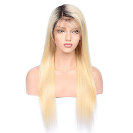 MediuM long straight hair online shopping - 1bT Glueless Full Lace Human Wig with Baby Hair Pre Plucked Density Brazilian Remy Hair Ombre Blonde Human Hair Wigs