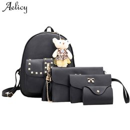 Backpacks For Girls Canada - Aelicy Luxury 4 Sets Bear Animals Backpack Women Bag School Bags For Girls BackpacFor Women New Tassel Shoulder Bags
