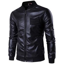 ed576967224 2018 New brand men leather jacket Autumn Stand Collar Embroidery Air Force  MA-1 Flight Jacket Men Bomber Jacket Big Size 3XL 4XL 5XL
