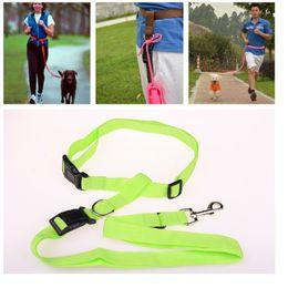 $enCountryForm.capitalKeyWord Australia - 100pcs Strong Nylon Hand Free Dog Leash Pet leads For Running Jogging Hiking Walking 6 Colors