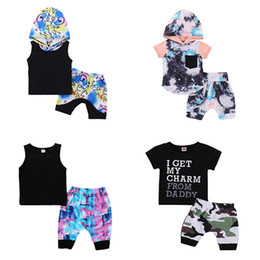 Chinese  Boys Summer Outfits 7 Designs Boy Clothing Sets Kids Clothes Suit Printing Cartoon Boys Shirt Shorts 1-4T manufacturers