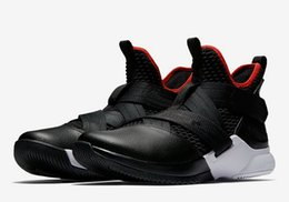 sports shoes da32f 51ff8 Best LeBron Soldier 12 Bred shoes for sale free shipping James 15 Black Red Basketball  shoes store US4-US12