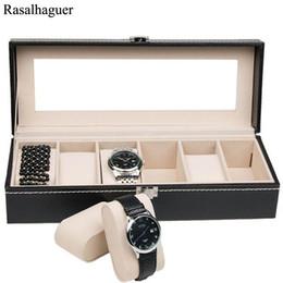 $enCountryForm.capitalKeyWord Australia - 2018 New Watch Box Black 6 Grid Leather Fashion Box Display Case Watch Storage Organizer Holder Jewelry Box Bracelet Organizer