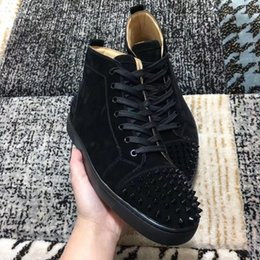 Discount men spike stud shoes - High Quality Suede Leather Sneakers Shoes With Spikes Popular Red Bottom High Top Studs Casual Famous Louisflats Skatebo