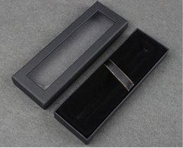 Paper Suit Case NZ - Transparent window high-grade pen case Black Heaven and earth cover paper gift box Universal pen box Can print logo