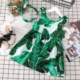 Chinese  Baby girls Green leaf print Beach dress children Floral Banana leaf suspender Princess Dress 2018 summer Boutique kids Clothing manufacturers