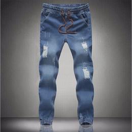 Jogger Jeans Ripped Mens Canada - New mens Stylish ripped Jogger Jeans Skinny biker jeans perfumes original Plus size S M L XXL XXXL 4XL 5XL elastic jeans