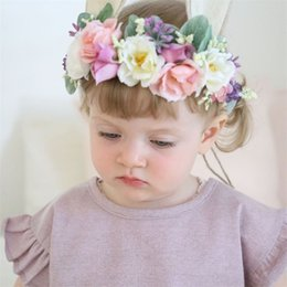 White hair Wreath online shopping - Woman Children Kids Wreaths Seaside Holiday Simulation Flower Artificial Rabbit Ears Hair Belt Decoration Flowers Party Supplies ys bb