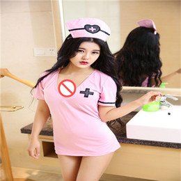 Wholesale clothes short adults online – design Sexy lingerie underwear nurses perspective ladies temptation clothing role playing V neck short sleeved dress adult sex toys flirting